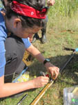 Denise Akob sampling heavy metal and radionuclide contaminated soils