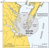 Regional map showing the location of the ICDP-USGS Eyreville drill site in the Chesapeake Bay Impact Structure (CBIS)