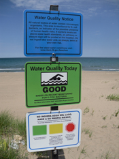 Swimming access is limited when E. coli concentrations in beach water are high. Photo credit: Meredith Nevers, USGS