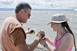 Photo: Researchers Ronald Oremland and Felisa Wolfe-Simon examine a mud sample from Mono Lake. Credit: Henry Bortman, Science/AAAS